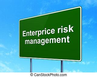negócio, concept:, enterprice, risco, gerência, ligado, sinal estrada, fundo