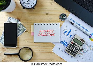 negócio, concept.top, vista, de, trabalhando, tabela, com, laptop, calculadora, mapa, smartphone, lupa, relógio, compasso, caneta, banknotes.word, negócio, objetivo, escrito, ligado, notepad.