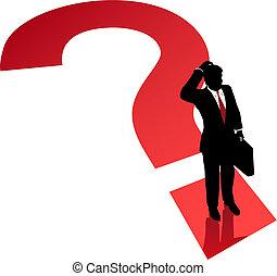negócio, confusão, decisão, marca pergunta, problema, homem