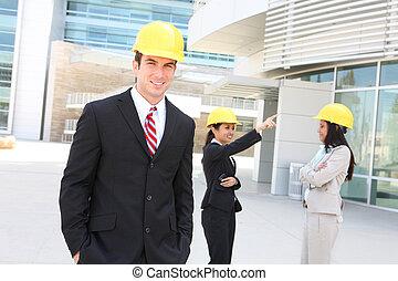 negócio, construção, equipe