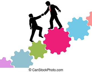 negócio, consultor, tech, ajuda, juntar