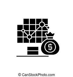 negócio, contabilidade, pretas, ícone, vetorial, sinal, ligado, isolado, experiência., negócio, contabilidade, conceito, símbolo, ilustração