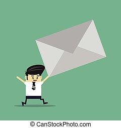negócio, correio, envie, work., homem