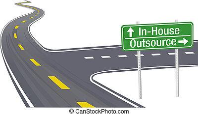 negócio, corrente, fornecer, decisão, outsource, inhouse