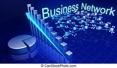 negócio, crescimento financeiro, e, rede, conceito