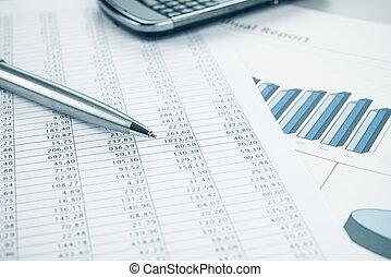negócio, dados, relatório, impressão, smartphone, e, caneta, fim, cima., azul, toned.