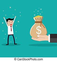 negócio, dar, mão grande, dinheiro, homem negócios