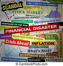negócio, desastre, manchetes, financeiro