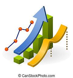 negócio, desempenho, mapa