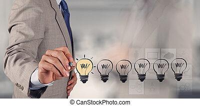 negócio, desenho, conce, estratégia, criativo, bulbo, luz, mão