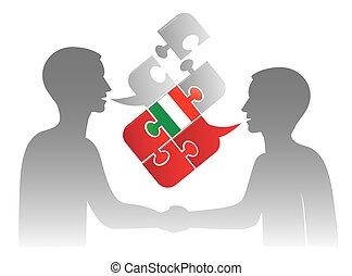 negócio, diálogo, italiano