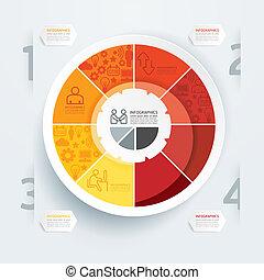negócio, diagrama, modelo, /, lata, ser, usado, para, infographics, /, horizontais, cutout, linhas, /, gráfico, ou, site web, esquema, vetorial