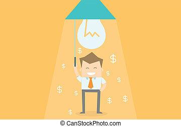 negócio, dinheiro, fazer, idéia, novo, feliz, homem