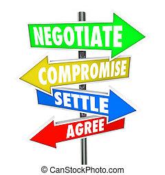 negócio, discussão, diplomático, negocie, estabelecer, compromisso, palavras, sinais, concorde