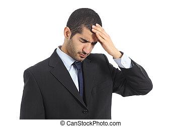 negócio, dor de cabeça, árabe, homem, preocupado
