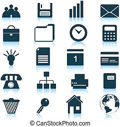 negócio, e, ícones escritório, jogo