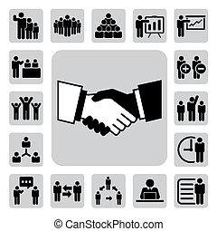 negócio, e, ícones escritório, set., ilustração
