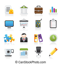 negócio, e, ícones escritório
