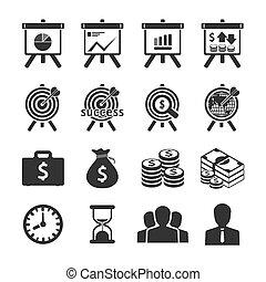 negócio, e, ícones financeiros, set., vetorial,...