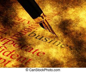 negócio, e, caneta, conceito
