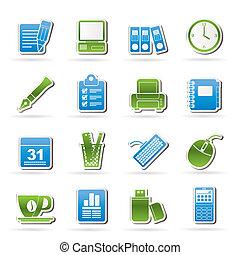 negócio, e, equipamento escritório, ícones