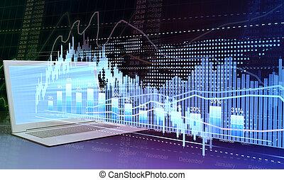 negócio, e, estoque, trading., laptop, e, negócio, gráficos,...