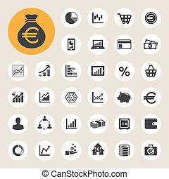 negócio, e, finanças, ícone, set.