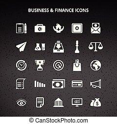 negócio, e, finanças, ícones