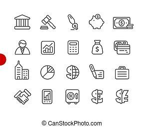 negócio, e, finanças, ícones, //, vermelho, ponto, série