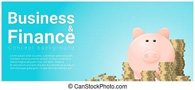negócio, e, finanças, conceito, fundo, com, cofre
