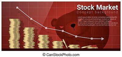 negócio, e, finanças, conceito, fundo, com, mercado conservado estoque