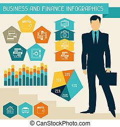 negócio, e, finanças, infographics.