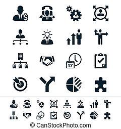 negócio, e, gerência, ícones