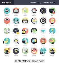 negócio, e, operação bancária, ícones
