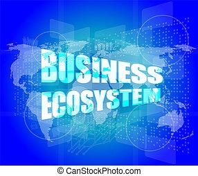 negócio, ecossistema, palavras, ligado, digital, tela toque