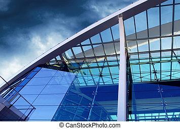 negócio, edifícios, arquitetura, ligado, céu, fundo