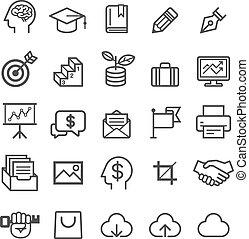 negócio, educação, icons.
