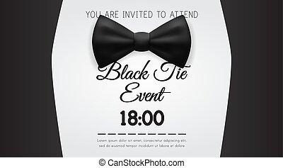 negócio, elegante, pretas, modelo, convite, laço, evento, cartão