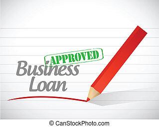 negócio, empréstimo, aprovado, mensagem