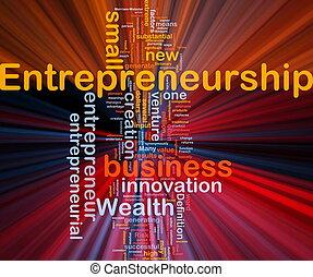 negócio, empreendedorismo, fundo, conceito, glowing