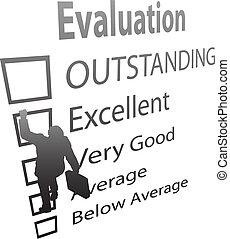 negócio, empregado, subidas, cima, avaliação, melhoria,...