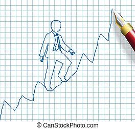 negócio, empresário, cima, sucesso, início
