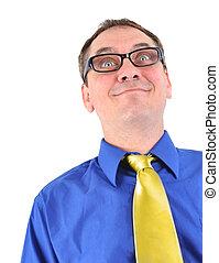 negócio engraçado, homem, geek, com, óculos