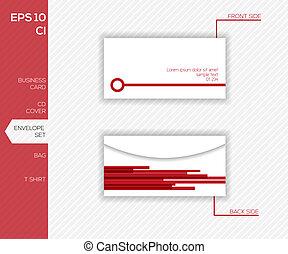 negócio, envelope, -, desenho, identidade incorporada