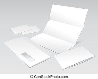 negócio, envelope, livreto, em branco, cartões, letra