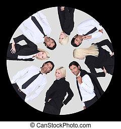 negócio-equipe, círculo, dentro