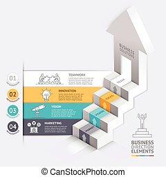 negócio, escadaria, setas, diagrama, modelo, 3d