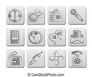 negócio, escritório, e, ícones internet