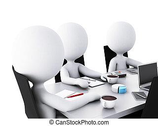 negócio, escritório, pessoas, sala, reunião,  3D