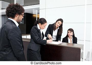negócio, escrivaninha recepção